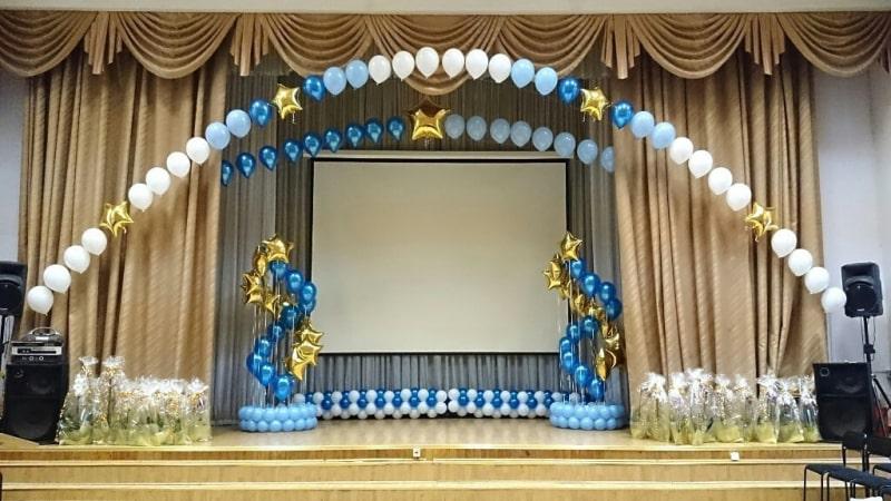 Оформление шарами зала для выпускного вечера