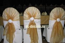 Украшение стульев тканью на свадьбу