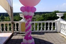 шар-сюрприз на стойке, при взрыве из большого шара улетают много много маленьких шариков