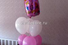"""Оформление воздушными шарами комнаты к встрече из роддома. Букет """"Бутылочка""""."""
