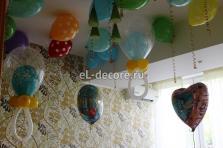 Оформление воздушными шарами комнаты к встрече из роддома для мальчика.