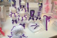 Фиолетовый комплект на свадьбу:семейный очаг, семейный банк, бокалы, свидетельство и книга пожеланий, подушечка для колец