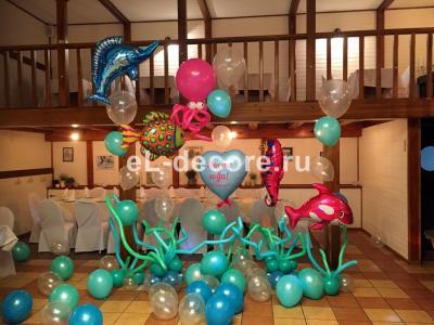 Оформление шарами в морском стиле для девочки на 2 года