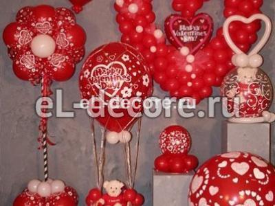 Композиции из воздушных шаров на день святого Валентина