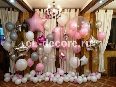 Оформление шарами на годик девочке