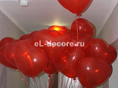 """Воздушные шары с гелием Сердечки """"XL"""" (40 см) (полет шара от 3 дней и более)"""