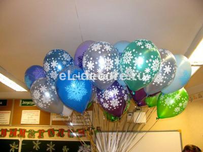 """Воздушные шары с гелием """"Снежинки"""" 30 шт."""