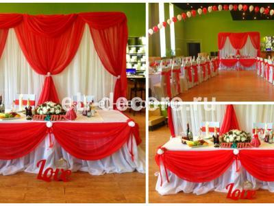 Яркое оформление свадьбы в красном цвете в ресторане «Vitro Village»