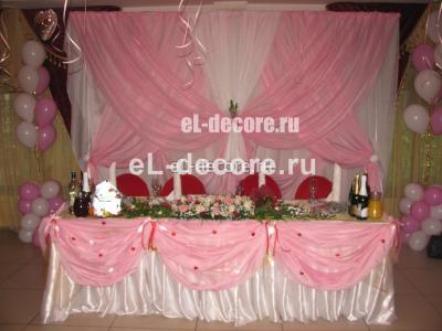 Драпировка стола и стульев на свадьбу