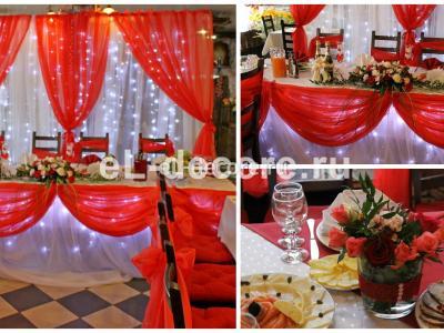 Красивое оформление свадьбы живыми цветами и тканью с подсветкой