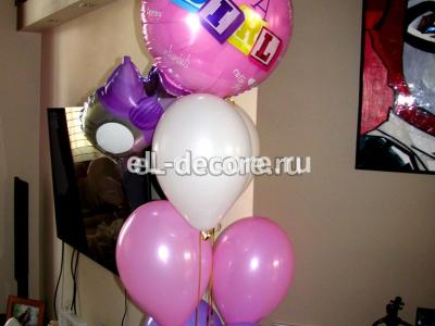 Оформление воздушными шариками комнаты к встрече из роддома для девочки.